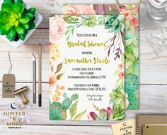Watercolor Desert Chic Succulent, Cactus Wreath Bridal Shower, Baby Shower, Birthday Party Invitation (Floral, Gold, Elegant) DIGITAL FILE by JupiterAndMarsPrints on Etsy https://www.etsy.com/listing/265471114/watercolor-desert-chic-succulent-cactus