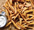 No-Fry Fries- Gwyneth Paltrows No-Fry Fries, just cut up your potatoes and place them in a bowl of cold water, then dry them off and toss them with olive oil, place them on a cookie sheet and sprinkle with sea salt, then bake at 450 for about 25 minutes, turning occasionally. Sweet potato option***