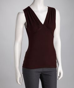 Take a look at this Brown Gathered V-Neck Top by Neesha on #zulily today!