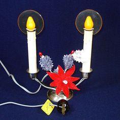 Christmas - Holiday and Seasonal Window Candles, Candle Sconces, Christmas Holidays, Christmas Cards, Christmas Decorations, Vintage Christmas Lights, Menorah, 1940s, Halo