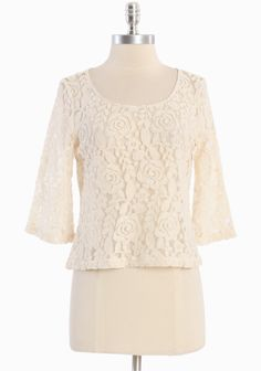 Love And Lace Button-back Top In Cream 36.99 at shopruche.com. This sheer cream blouse is crafted in a simple silhouette with tonal back button closures and lace embroidery. Pair with a camisole and a high-waisted skirt for an effortlessly fashionable outfit.60% Rayon, 40% Nylon, Imported , 18.5'' length from top of shoulder