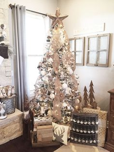 Rustic Farmhouse Christmas Tree with DIY advent calendar - Neutral Christmas Decor