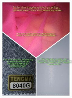 What is interfacing fabric? The interfacing product can be applied for all garments, colorful garments in Summer, backing lining for dust coat and heavy coat, collar/cuff for shirts, waistband for pants, etc. Welcome to our website: www.interlining-tm.com for more info.
