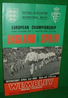 FOOTBALL ASSOCIATION INTERNATIONAL EUROPEAN CHAMPIONSHIP ENGLAND v SPAIN MATCH DAY FOOTBALL PROGR...
