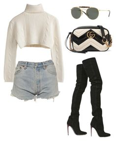 """Untitled #5480"" by lilaclynn ❤ liked on Polyvore featuring Levi's, Ray-Ban, Gucci, Chanel, rayban and gucci"