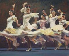 """Raymond Leech - Galerie Coquille, Royaume-Uni. Depuis l'ouverture en 1978, la Galerie Coquille a offert une nouvelle dimension aux amateurs d'art en visite North Norfolk.Flamenco Motion White. 24 huile """"x 29"""" £ 4500"""