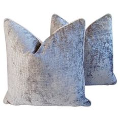 Check out this item at One Kings Lane! Platinum Velvet Crocodile Pillows, Pr