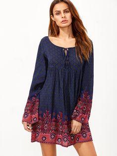 Shop Navy Tie Neck Floral Print Dress online. SheIn offers Navy Tie Neck Floral Print Dress & more to fit your fashionable needs.