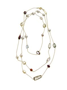 Diane von Furstenberg by H.Stern collection. Temptation Rocks necklace in 18K yellow gold with pearls and Brazilian gemstones.