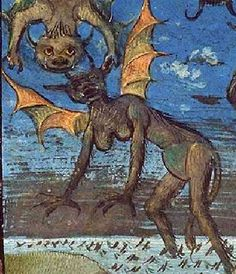 «The fall of the rebel angels.» Bible moralisée, c. 1455-1460, The Hague, KB, 76 E 7, f 1r, Koninklijke Bibliotheek National Library of the Netherlands. http://manuscripts.kb.nl/zoom/BYVANCKB%3Amimi_76e7%3A0
