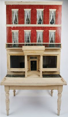 Silber & Fleming Box Back Dolls' House with Base : Lot 453, nice three story with base, good design and brick work.  .....Rick Maccione-Dollhouse Builder www.dollhousemansions.com