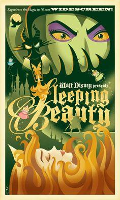 Sleeping Beauty - Retro Disney/Pixar Posters by Eric Tan Disney Pixar, Art Disney, Disney Villains, Disney And Dreamworks, Disney Animation, Disney Magic, Disney Films, Disney Princesses, Vintage Cartoon