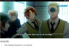Pretty much sums up the Hetalia fandom...We're strange, but in a good way! ;) This also explains why we can understand each other so well. Shout out to all the Hetalia fans reading this.