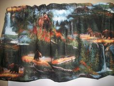 Brown Bears Mountains Woods cabin alaska hunting fabric curtain topper Valance #Handmade