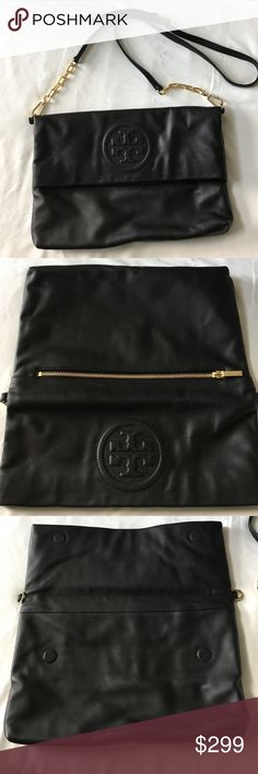 Tory burch bombe embossed satchel Tory burch black leather embossed bombe satchel bag. Brand new without tags. Purchased, but never used before throwing tags and receipt away. Gold over magnetic closure. Optional leather/chain link strap. Perfect condition. Tory Burch Bags Crossbody Bags