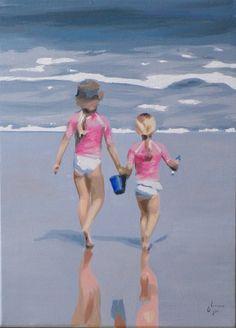 ► Geraldine Limon - les deux sœurs - scène de bord de mer, peinture à l'huile.