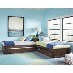 NE Kids Pulse L-Shape Bed - Looking to board two kids in one room? The NE Kids Pulse L-Shape Bed affords them separate sleeping spaces while still retaining plenty of floor space....