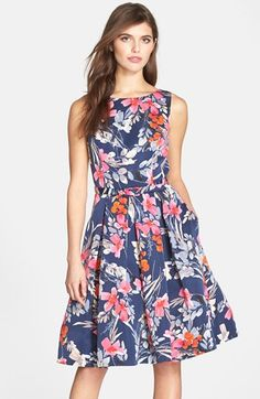 Eliza J Belted Print Fit & Flare Dress (Petite) at Nordstrom.com. Perky color and pretty flower patterns refresh this clean, crisp day dress that flares from the box-pleated waistline.