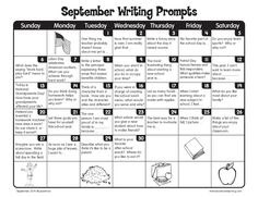 September Writing Prompts from Lakeshore Learning! September Writing Prompts from Lakeshore Learning!