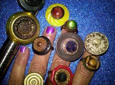 SURPRISE antique and vintage adjustable button ring lifetime guarantee