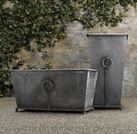 RH's Estate Zinc Ring Square Tall & Trough Planters:Recalling pots from 19th-century English and Belgian estate gardens, these stately planters are crafted in a family-owned workshop in Bulgaria.