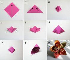 цветок из бумаги оригами схемы - Поиск в Google