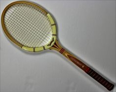 Vintage Dunlop 'Made in England' Wooden Tennis Racket & Custom Needlepoint Cover