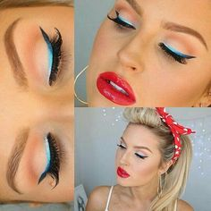 Nada como um delinerador colorido pra dar um up num visual clássico!  Para fazer igual -> Delineador Líquido MaryKayAtPlay: The Real Teal; Lápis Sombra MaryKayatPlay: You're a Pech; Brilho para os Lábios NouriShine Plus: Rock'n'Red.  #marykay #marykayatplay #makeup #modernpinup #descubraoquevoceAMA