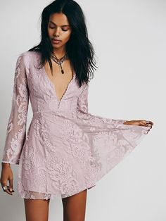Free People Reign Over Me Lace Dress Pizzo Viola a65a5a1925d