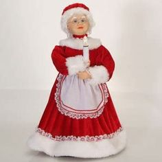 Sterling Lighted and Animated Traditional Mrs. Claus with Candle Christmas Figure Christmas Barbie, Christmas Costumes, Illuminations Candles, Christmas Candles, Christmas Decorations, Mrs Claus Dress, Holiday Outfits Women, Santa Doll, Red Velvet Dress