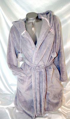 Small Victorias Secret Robe Womens Plush Cozy Short Bathrobe Gray NWT | eBay
