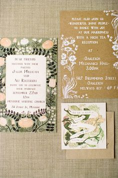 garden wedding invitations // photo by Adrian Tuazon --- i like the layout and trio, sorta the font, not the pattern. old school floral yes just not this one/color combo