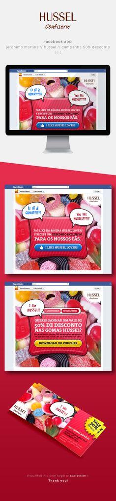Facebook App / Jerónimo Martins / Hussel / 50% desconto by Andrea Sousa, via Behance #webdesign