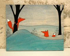 love her work! http://www.etsy.com/listing/78359010/mr-and-mrs-fox-mounted-print