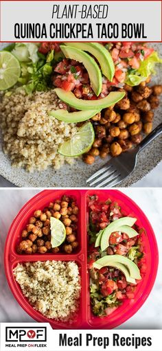Quinoa Chickpea Taco Bowls - Meal Prep on Fleek™️ Best Picture For Vegan Meal Prep soup For Your Tas Paleo Meal Prep, Lunch Meal Prep, Easy Meal Prep, Easy Meals, Lunch Meals, Veggie Meals, Keto Meal, Lunches, Quinoa