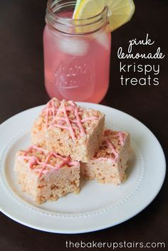 Pink lemonade krispy treats from The Baker Upstairs! Sweet and tart, and perfect for a spring or summer party! http://www.thebakerupstairs.com