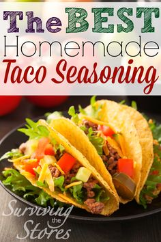 Super Easy Homemade Taco Seasoning!! Tastes SO much better than anything you can find in the store. (and no extra nasty chemicals!)