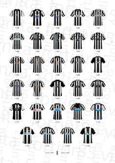 Newcastle United Football Home Shirt History Artwork Presentation Print Football Kits, Football Jerseys, Paper Frames, Box Frames, Newcastle United Football, Presentation, Club, History, Artwork