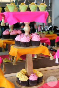 Hand crafted pink,yellow and gold mini desert table .