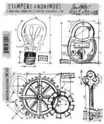 CMS149 Stampers Anonymous Tim Holtz Cling Mounted Stamp Set - Industrial Blueprint Set