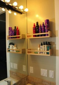 organize, organization, bathroom organization, spice racks, shampoo
