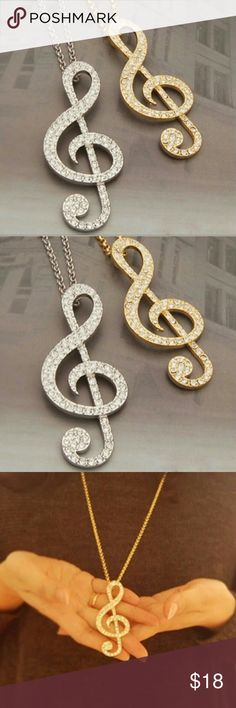 Music note Necklace New Womens Rhinestone Music Note Chain Necklace Sweater Chain available in Gold or Silver color Jewelry Necklaces