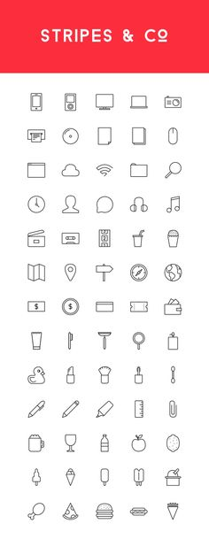 Freebie: Stripes & Co - A Line-Styled Icon Set (65 Icons) - Speckyboy Design Magazine