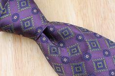 FACONNABLE Metallic Purple Green Diamond Pattern mens Silk Tie #Faconnable #NeckTie