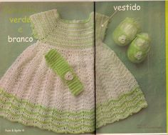 Green and White Baby Dress free crochet graph pattern