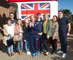 Lizzy with her family and friends before boarding her open top bus