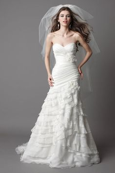 Elegant sleeveless a-line floor-length bridal gowns - Beautiful!