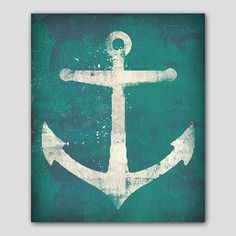 NAUTICAL ANCHOR Graphic Illustration  Gallery Wrapped Wall Art  Ready-To-Hang Stretched Canvas 16x20x1.5 on Etsy, $120.00