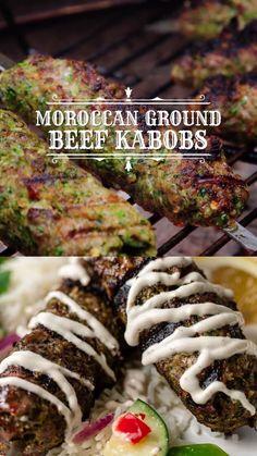 Ground Beef Kabob Recipe, Kefta Kabob Recipe, Beef Kabob Recipes, Healthy Beef Recipes, Ground Beef Recipes For Dinner, Grilling Recipes, Dinner Recipes, Beef Kabobs, Kebabs