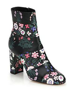 Valentino Floral-Print Leather Booties - Black- - Size 3